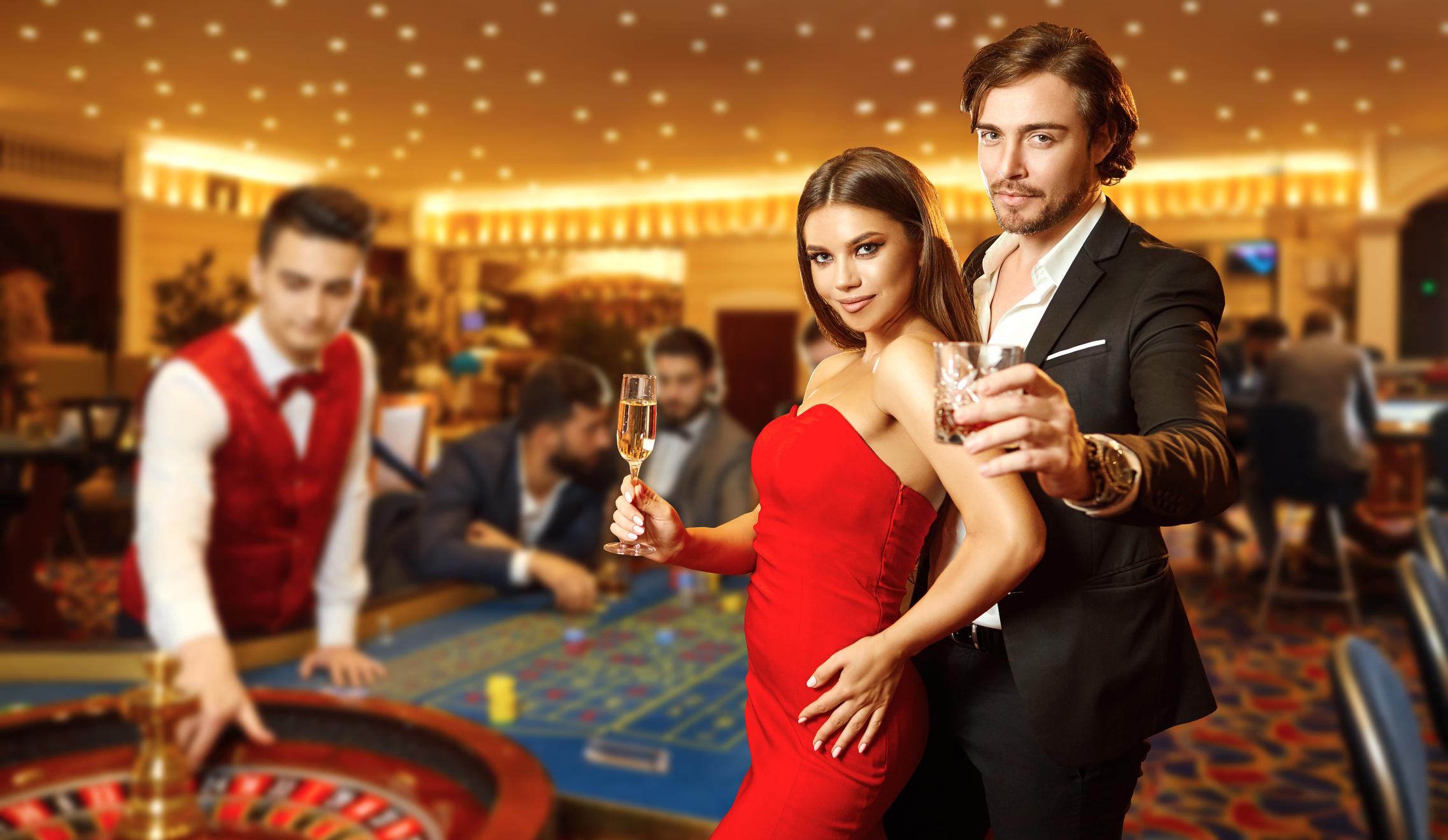Glamorous Couple in vegas casinoa attire