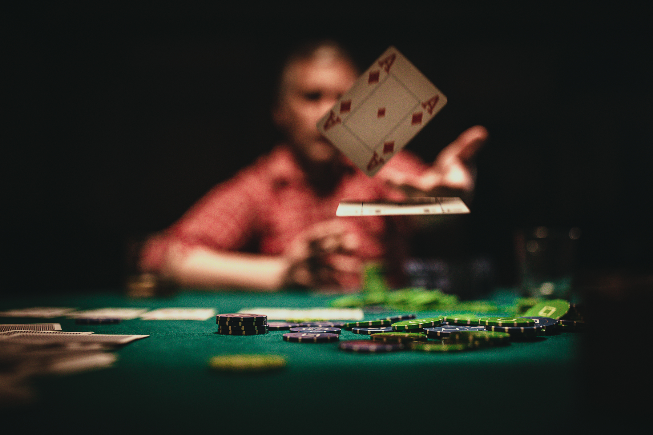 card dealer at a casino table
